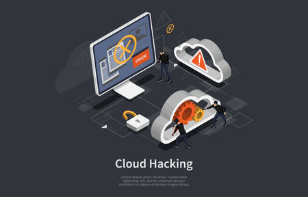 Cloud Hacking Conceptual Art On Dark Background. Vector Illustration In Cartoon 3D Style, Isometric Design. Hacker Team In Masks Attacking System. Danger Infographic Signs. Computer, Cogwheel, Lock Illustration