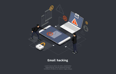 Email Hacking Conceptual Art On Dark Background. Vector Illustration In Cartoon 3D Style, Isometric Design. Hackers Team Stealing Information. Laptop And Smartphone Devices Near. Infographic Objects