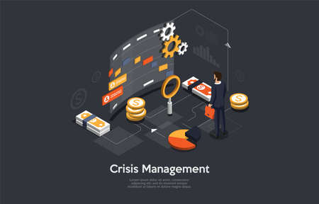 Crisis Managemet Conceptual Art On Dark Background. Vector Illustration In Cartoon 3D Style, Isometric Design. Businessperson Standing Near Infographic Elements. Coins, Charts, Diagrams, Cogwheel