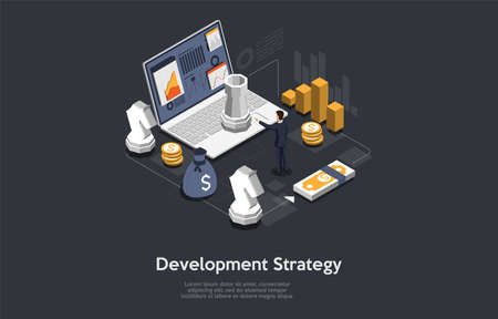 Development Strategy Conceptual Art On Dark Background. Vector Illustration In Cartoon 3D Style, Isometric Design. Man, Laptop, Information With Charts On Screen. Chess Figures, Money Elements Around Illustration