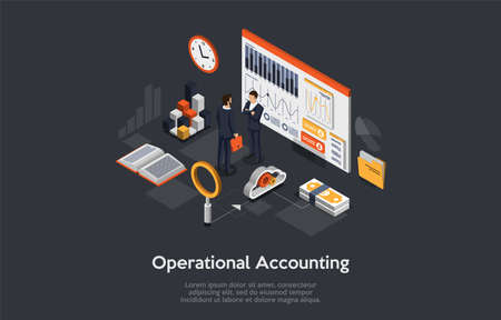 3d Composition, Vector Isometric Art. Cartoon Style. Operational Accounting Idea. Elements And Writings. Two Businessmen Standing. Infographics Objects. Business Strategy Discussion, Workflow Process