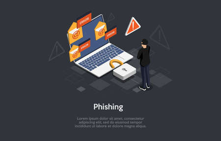 3d Composition, Vector Isometric Art. Cartoon Style. Online Internet Phishing Danger Idea. Elements And Writings. Hacker In Black Standing Near Laptop With Lock. Warning Signs Around, Infographics Illustration