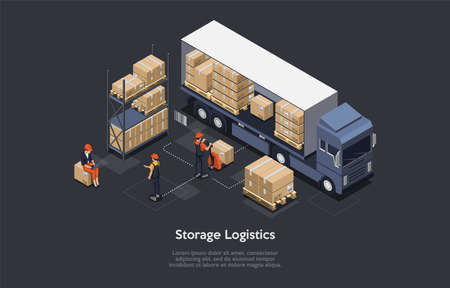 3d Composition, Vector Isometric Art. Cartoon Style. Storage Logistics Idea. Elements And Writings. Big Lorry Loaded With Cardboard Or Wooden Boxes. Three Staff Characters In Uniform Working Around