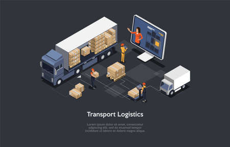 3d Composition, Vector Isometric Art. Cartoon Style. Transport Logistics Idea. Elements And Writings. Warehouse Storage Elements. Loaded Lorry, Staff Working, Cardboard Boxes. Big Laptop With Customer