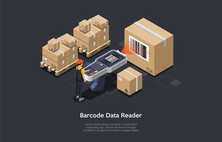 3d Composition, Vector Isometric Art. Cartoon Style. Barcode Data Reader Idea. Elements And Writings. Dark Background. Cardboard Boxes With Codes. Worker Scanning Them. Big Information Reader. Storage