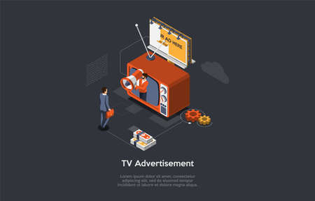 Cartoon Style 3D Illustration On Dark Background With Objects And Characters. Conceptual Isometric Vector Design. Televison Product Advertisement, Traditional Means Of Commercial And Goods Placement. Ilustración de vector