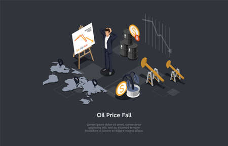 Conceptual Illustration With Text. Isometric Vector Composition. Cartoon 3D Style Design. Oil Price Fall, Shocked Businessperson Standing. Graph Arrow Falling, World Map, Money Related Infographics