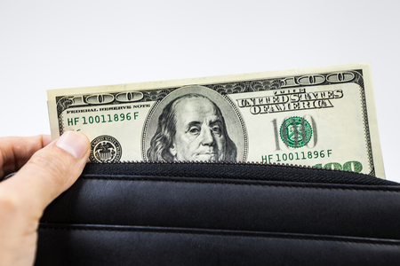 usa money in a wallet ,on a white background 版權商用圖片