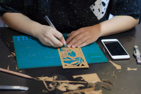 Person doing an art project