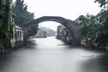 Raining scene in a village