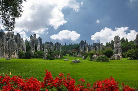 Rock formation in a garden 版權商用圖片