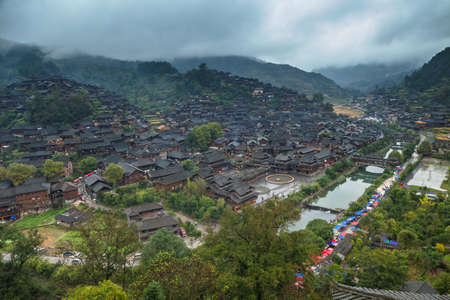 Aerial view of an ancient village with old buildings