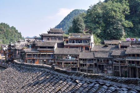 Traditional stilt houses in Fenghuang city, China.