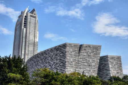 CANTON, CHINA - CIRCA JANUARY 2017: The new Guangzhou Library is located on the banks of the Pearl River on Flower City Square and on Guangzhou's new central axis.