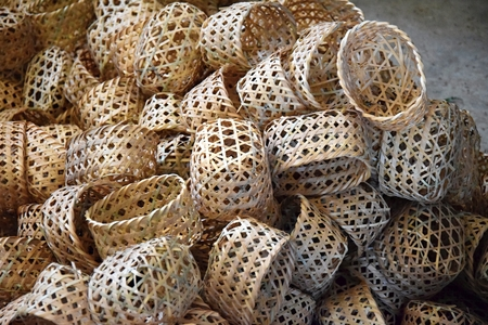 Wicker baskets use as natural wrapping.