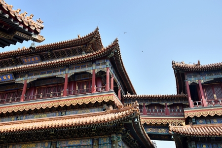 Great Opera Hall on the grounds of the Summer Palace in Beijing is richly decorated, colorful ornamented roofs and crests.