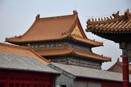 Ancient pavilions and their decorative roofs in Forbidden City, Beijing, China.