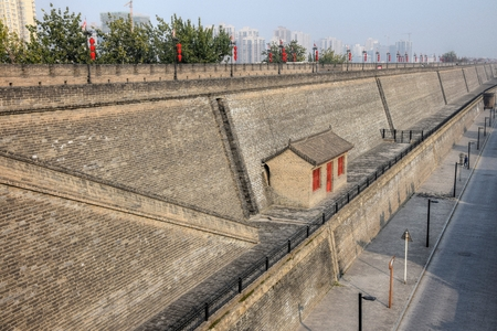 The city wall in Xi'an metropolis in Shaanxi province in China.