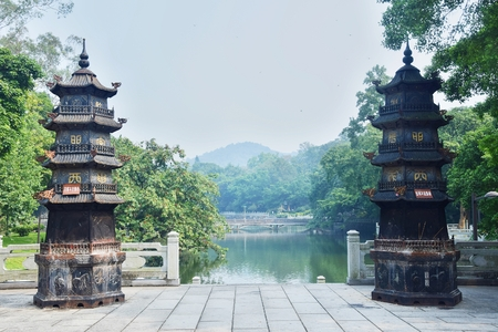 The pagodas in the sacred mountain Luofo in Guangdong province in China. Reklamní fotografie
