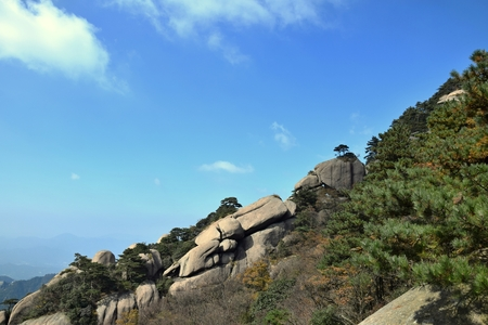 Top of the hills at Mount Jiuhua, Nine Glorious Mountains, one of the four sacred mountains of Chinese Buddhism located in Qingyang County in Anhui Province in China.