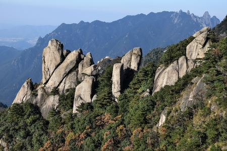 Top of the hills at Mount Jiuhua, Nine Glorious Mountains in Anhui Province in China.