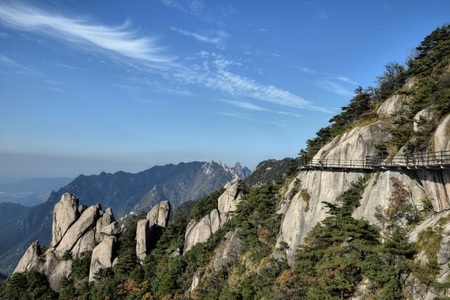 Nine Glorious Mountains, one of the four sacred mountains of Chinese Buddhism located in Qingyang County in Anhui Province in China.