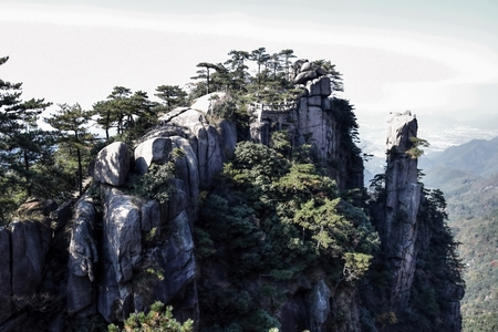Top of the hills at Mount Jiuhua, Nine Glorious Mountains in Anhui Province in China. Reklamní fotografie