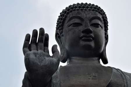 Detail of Tian Tan Buddha, also known as Big Buddha, the worlds tallest outdoor seated bronze Buddha located in Lantau Island, Hong Kong, China.