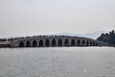 17-Arch Bridge across the Kunming Lake on the grounds of The Summer Palace in Beijing. The entire bridge is 150 meters long and eight meters wide