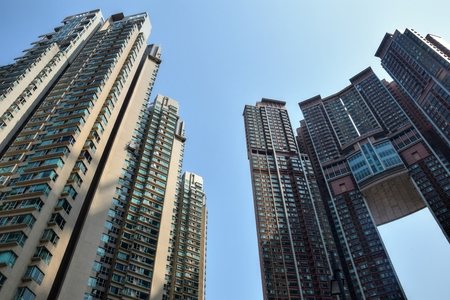 The detail of high density residential buildings in Hong Kong. 写真素材