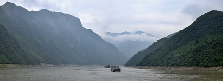 Majestic Three Gorges and Yangtze River in Hubei Province in China.