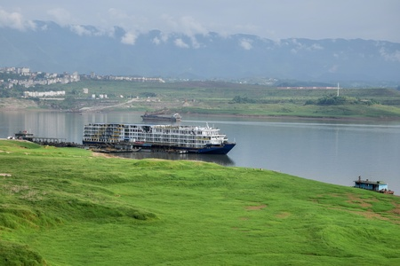 A boat anchored on the Yangtze river