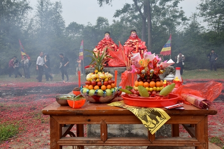 GAOZHOU, CHINA, CIRCA MARCH 2019: Sacrifical altar on the occasion of Nian Li a unique traditional festival in the west of Guangdong Province, China.
