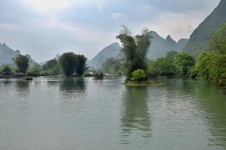 Li river runs through the fairy karst landscape of Yangshuo in Guangxi Zhuang Autonomous Region in China.