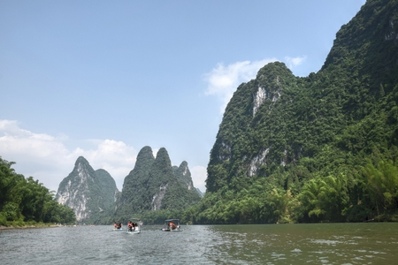The bamboo rafts on the river Li in the Yangshuo county