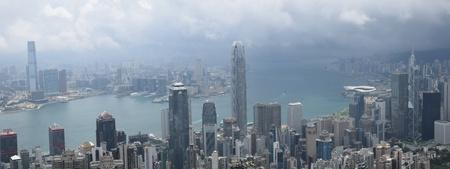 Hong Kong skyline cityscape from the bird´s eye view.