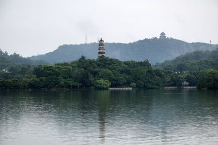 West Lake in Huizhou city in Guangdong province in China.