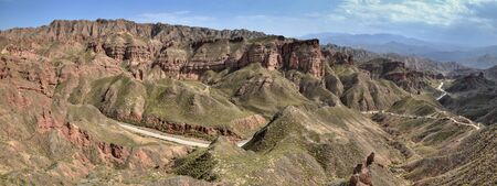 Binggou Danxia landform at Zhangye Danxia national geo park in Gansu province in China. 版權商用圖片