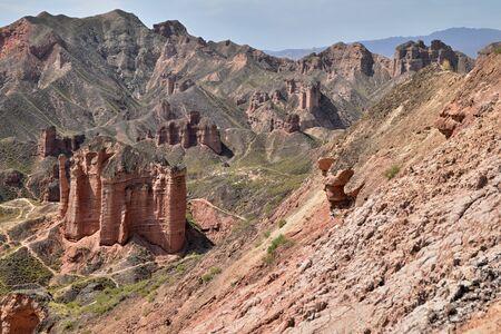 Binggou Danxia landform at Zhangye Danxia national geo park in Gansu province in China.