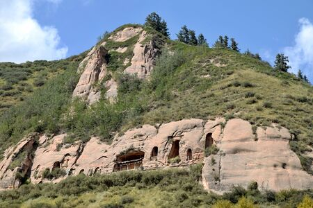 One of the small cave temple in Matisi, the Horse´s Hoof Temple, near city of Zhangye in Gansu province in China.