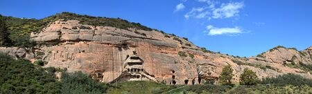 One of the small cave temple in Matisi, the Horses Hoof Temple, near city of Zhangye in Gansu province in China.