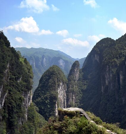 Scenic view Tianwen near Jidou Miao Village in Hunan province in China lies in the heart of Xiangxia steep cliffs, about 24 kilometers from Jishou.