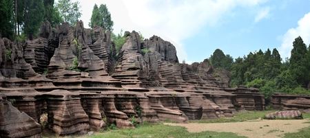 The Red Stone Forest National Geopark, also know as Guzhang Mountain located in Hunan province, China. The park was rated as AAAA scenic area of China.