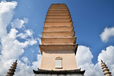 The Three Pagodas of the Chongsheng Temple near the old town of Dali in Yunnan province in China. Editorial