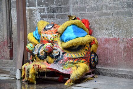 Lion head, part of costume which is use in Lion Dance Imagens