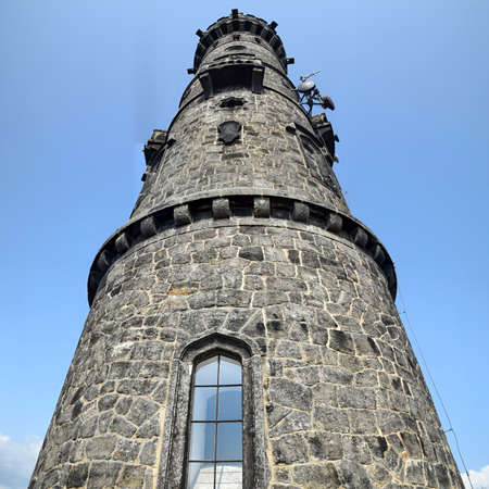 A stone observation tower , the highest peak in the Elbe Sandstone Mountains in the mountainous area of Bohemian Switzerland, close to the border with Germany.