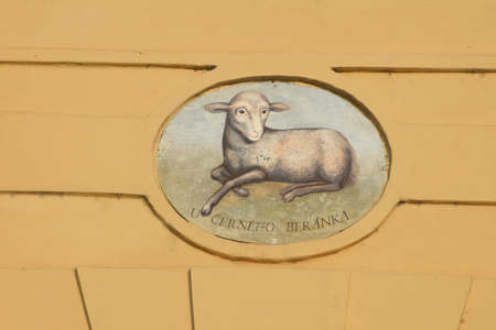The House Sign of Old Prague in the Czech Republic - the House with the White Lamb from the second half of the16 century nearby Prague Castle.