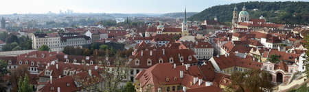 Prague, the capital of Czechia, situated on the Vltava river, founded during the Romanesque (7th century), place of varied collections of architecture. Stock Photo