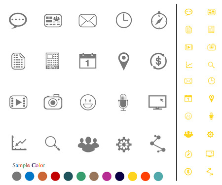 Collection Icons set vector and Sample Color   Communication  Vector