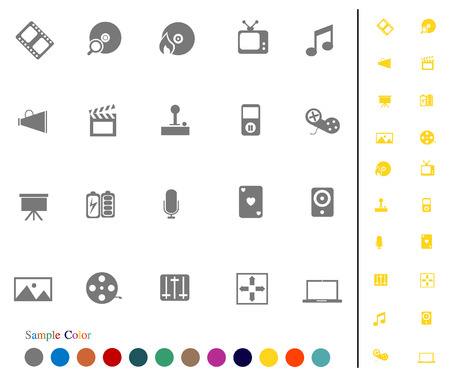 Collection Icons set vector and Sample Color   media  Vector